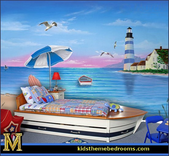 Decorating theme bedrooms maries manor nautical bedroom for Beach themed mural