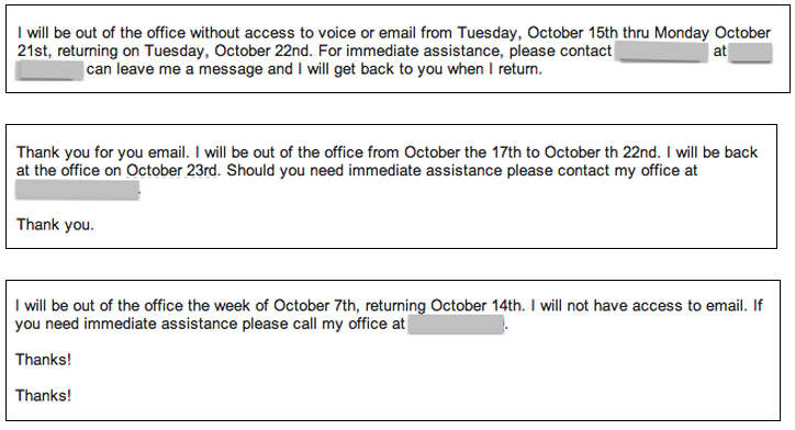 Out Of Office Template. out of office templates sample customer ...