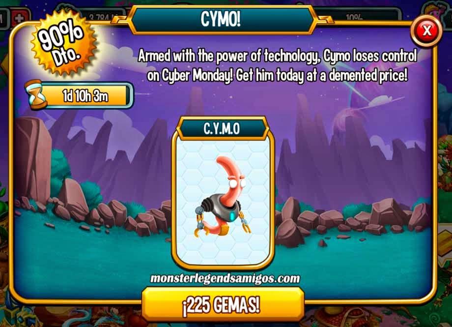 imagen de la oferta del monstruo cymo de monster legends