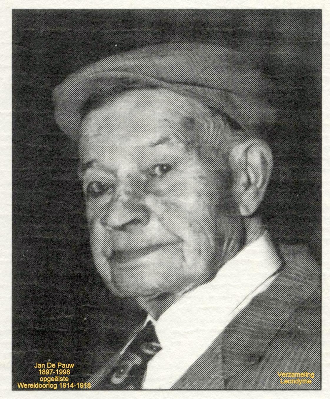 Opgeëiste Jan De Pauw 1897-1998, Wereldoorlog 1914-1918. Verzameling Leondyme.