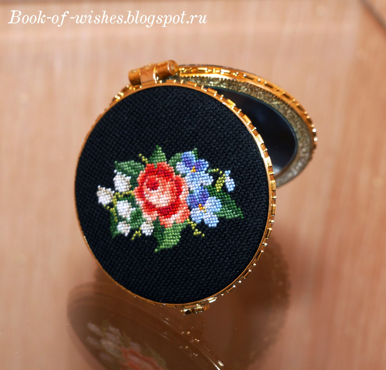 Vintage compact mirror Petit Point Needlework