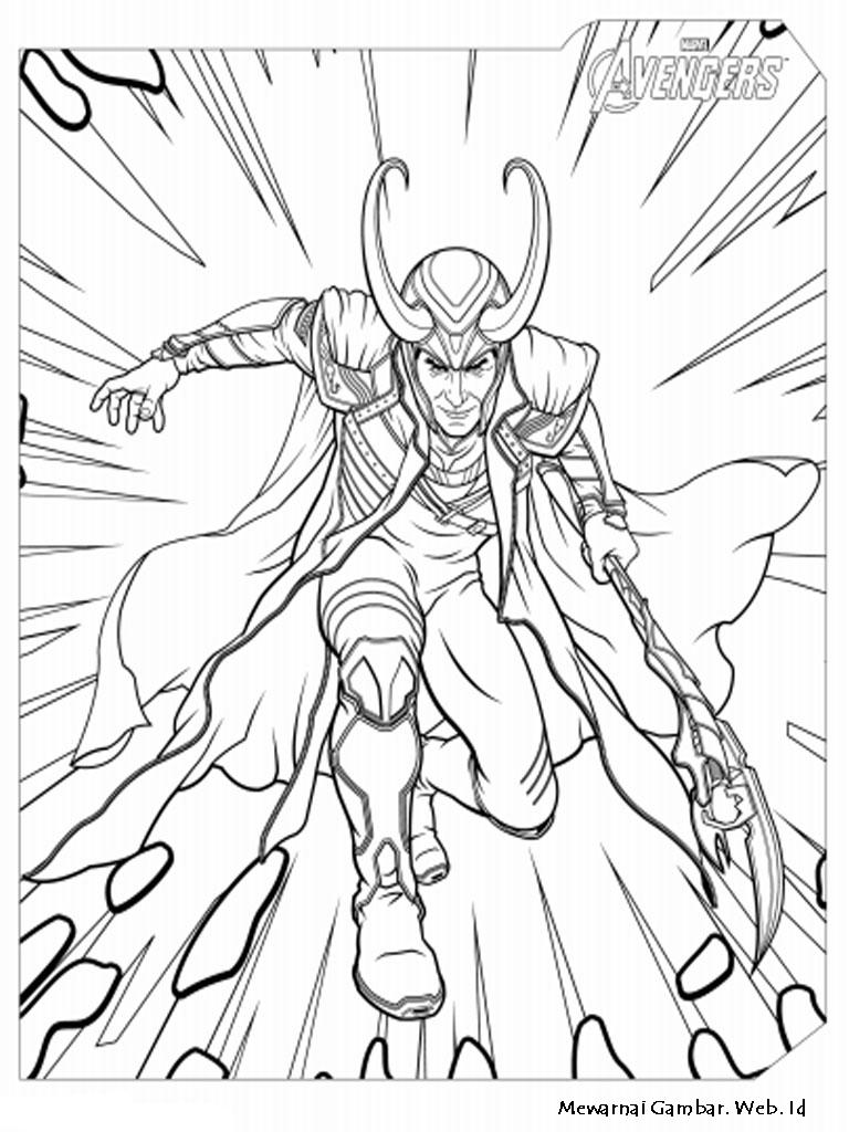 Image Result For Mewarnai Gambar Loki The Avenger