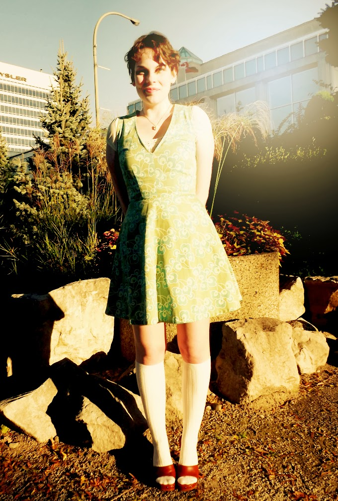 Windsor riverfront, Chrysler building, windsor fashion blogger, green dress, green pattern, knee socks, sound of music inspired, Suzanne Amlin, A Coin For the Well, dirndl, vintage inspired, vintage style dress, Dilly Daisy, windsor designer