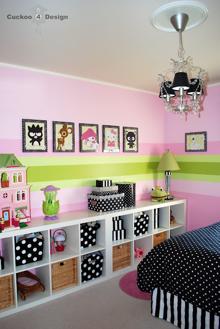 pink girls room with black and white stripes, black and white polka dots