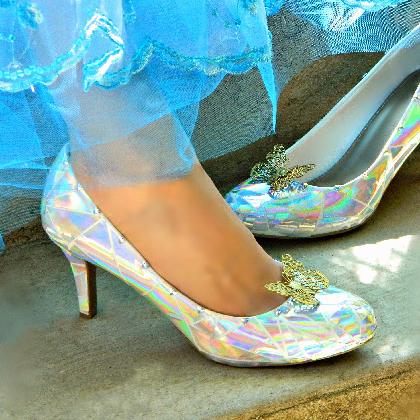 cdcbf06a5 A wearable glass slipper! The original from the latest Cinderella movie.  They wouldn't be complete without the butterfly shoe clips!