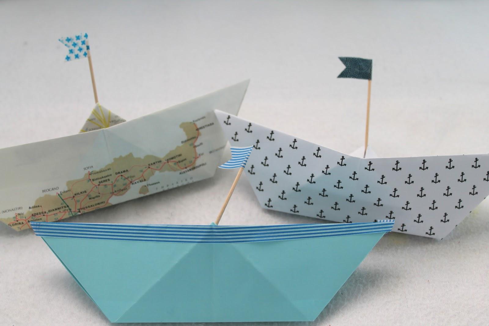 Papierboot Anker Landkarte Masking-Tape-Fahne