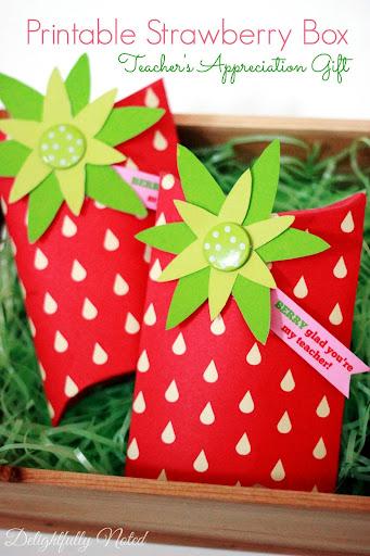 Printable Strawberry Box Teacher Gift