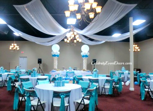 Celebrity event decor banquet hall llc for Baby shower ceiling decoration ideas
