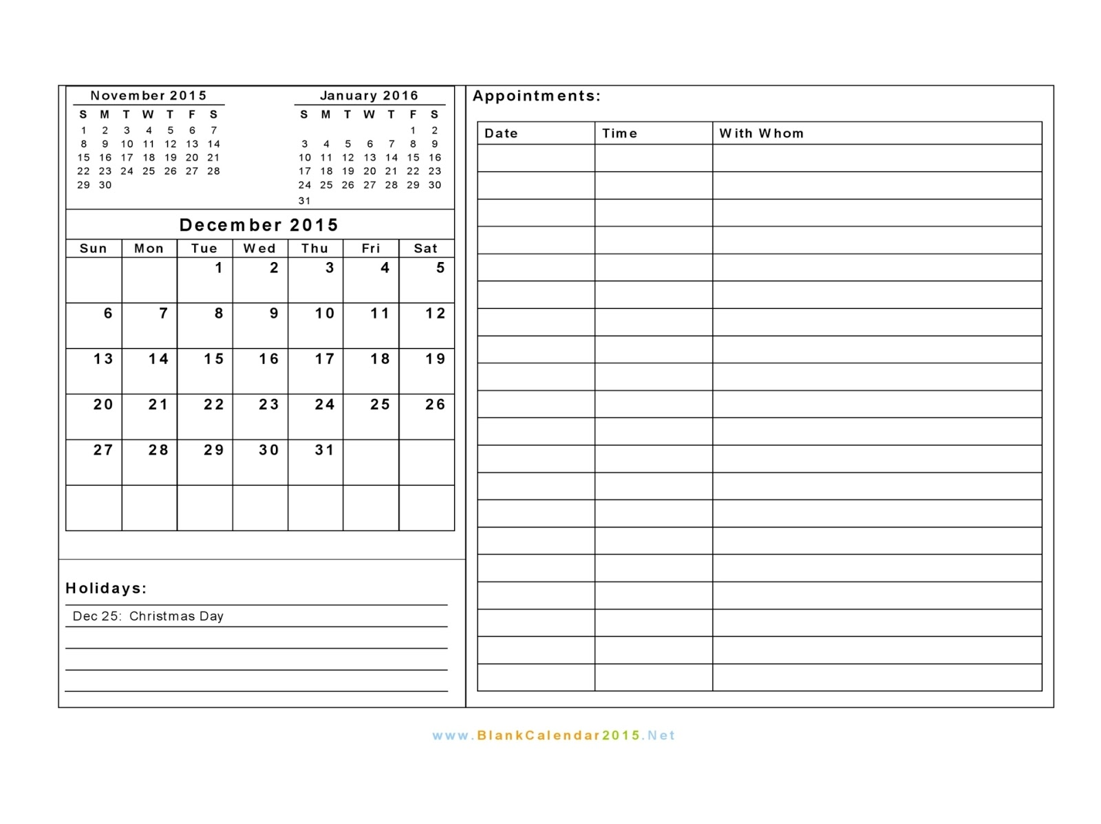 December 2015 Appointment Calendar Printable | Calendar Template 2016