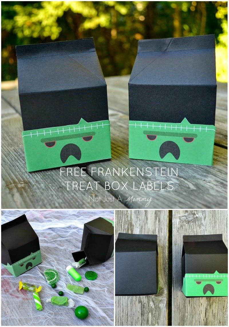 free Frankenstein treat box labels