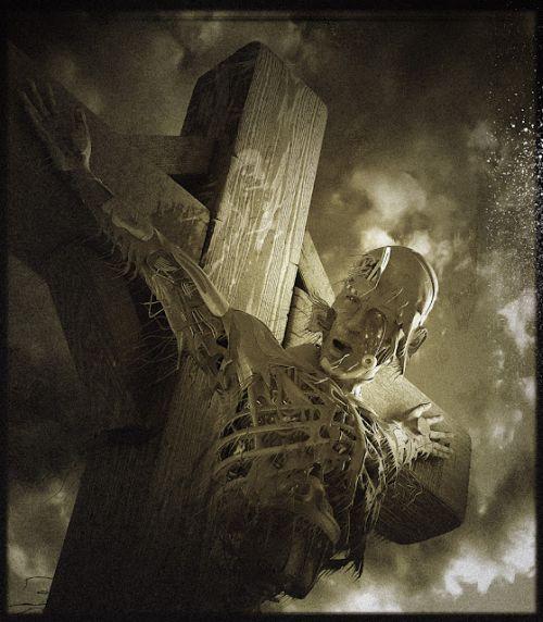 Andrew Ferez 25kartinok deviantart ilustrações sombrias surreais Crucificação do andróide