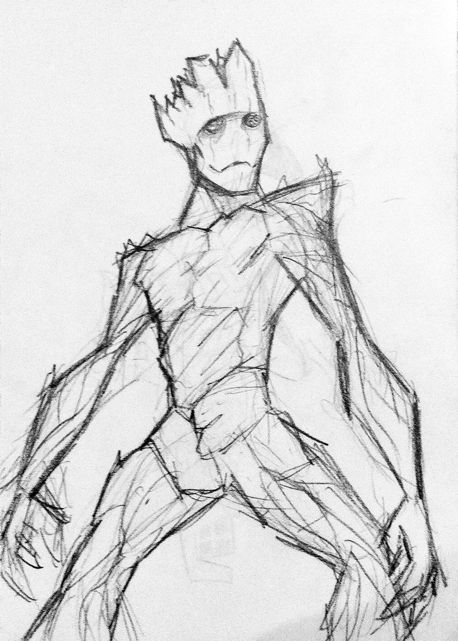 Groot Guardians of the Galaxy pencil sketch by IAMO