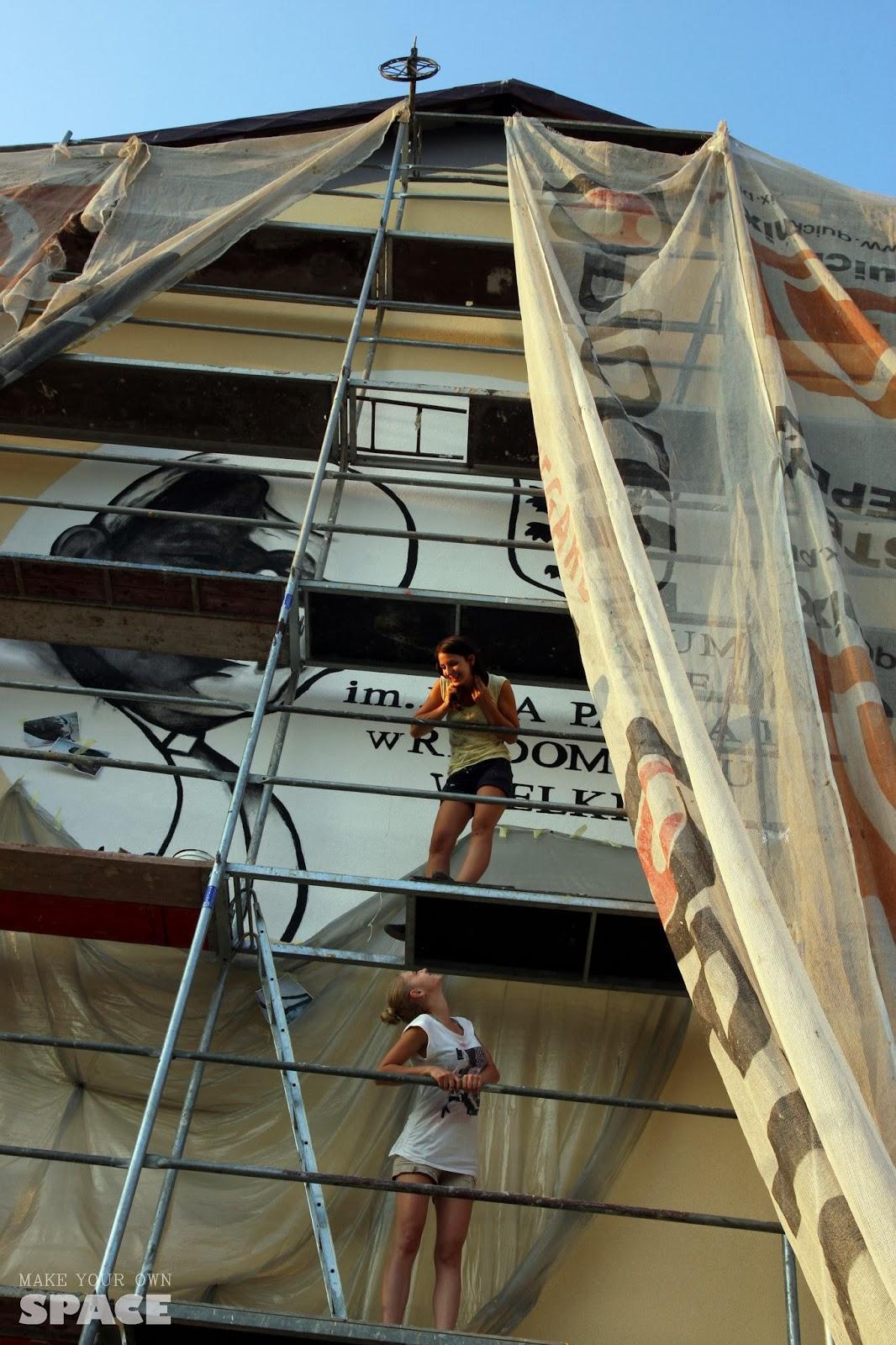 mural, wysokość, rusztowanie, dziewczyny, papież