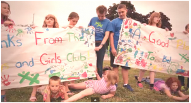 image Children holding Banners Kawartha Lakes Boys and Girls Clubs -Great Place to Be