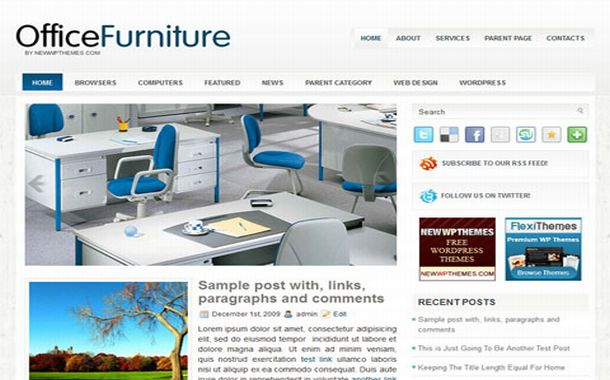 Free Blue Office Business Jquery Wordpress Theme