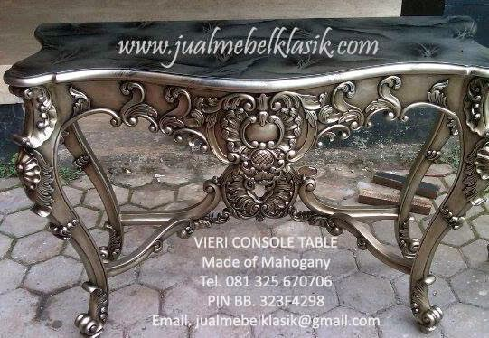 Silver leaf console table, Luxury carved console table, meja konsole mewah, meja konsole ukir jepara, meja konsole mahoni