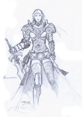 Concept art de personaje hecho por ªRU-MOR para el juego de Cartas y fantasía  Épica. Edades Oscuras. Personaje principal de Kalara