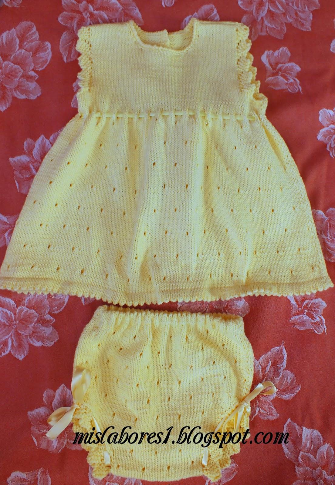 Mis labores vestido con braguitas para bebe - Labores de crochet para bebes ...