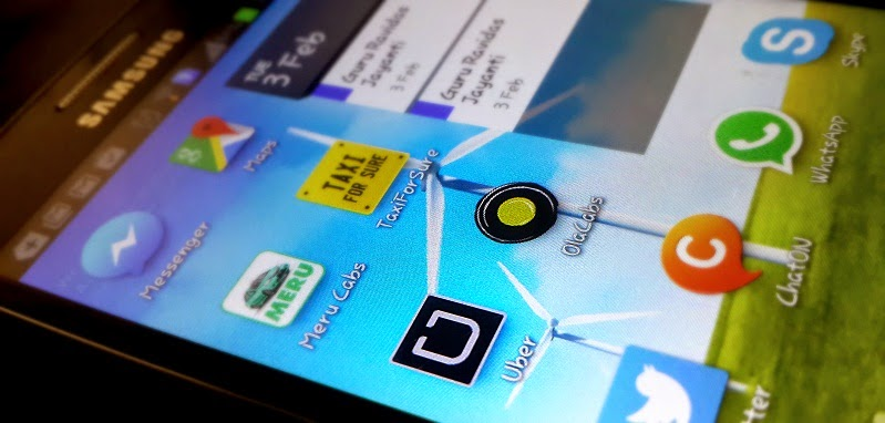 Taxicab apps on a Samsung Smartphone