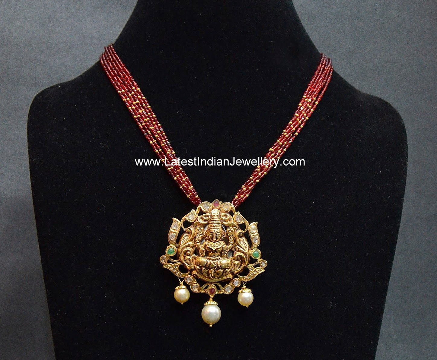 Ruby Beads Chain Lakshmi Pendant