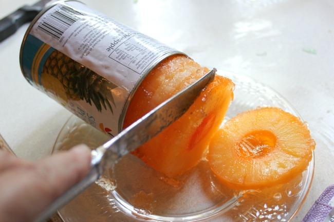 Slices of pineapple with orange Jello