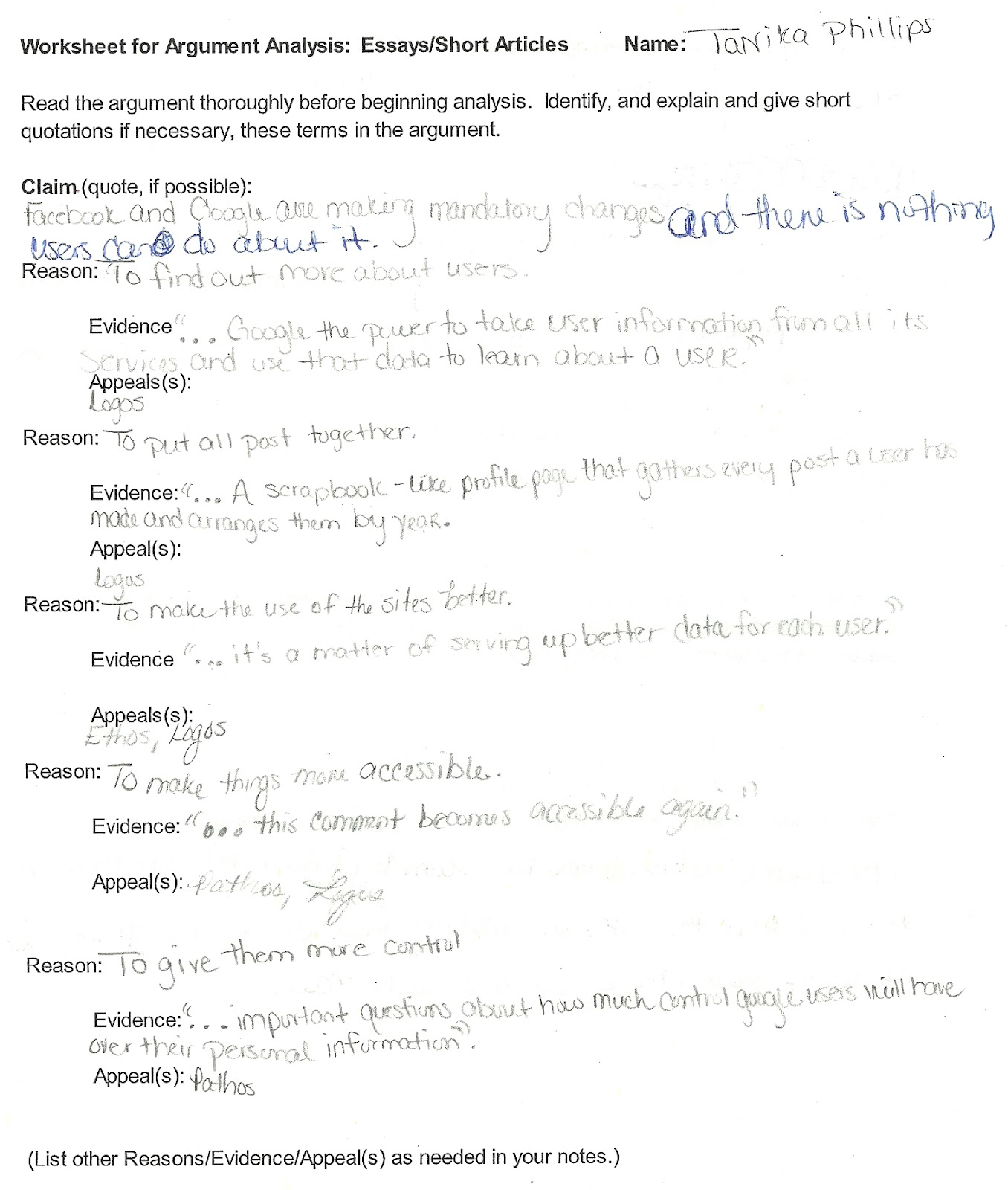 TANIKA ENG 112 BLOG Worksheet for Argument Analysis
