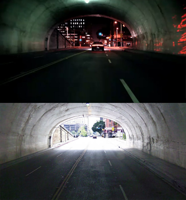 Los Angeles Second Street tunnel exit from Dodge commercial and Google Street view