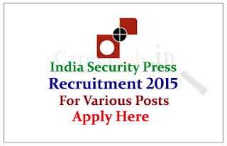 Indian Security Press Nashik Recruitment 2015 for the post of Supervisor