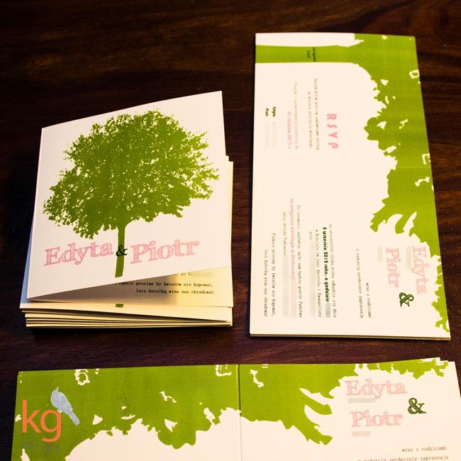 oryginalne zaproszenie ślubne, brudny róż, zielony, składane na pół, motyw przewodni drzewo, ślub, nietypowe zaproszenia na ślub cywilny, zawiadomienia,