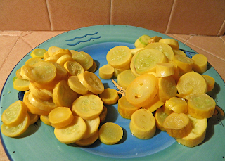 2 Piles of Microwaved Squash on Plate