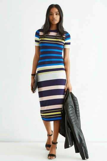 oasis blue black white stripe dress