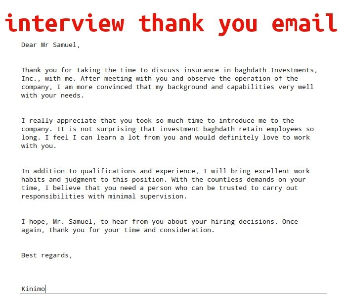 interview thank you email samples business letters
