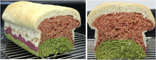 Pão tricolor (espinafre, beterraba e cenoura)