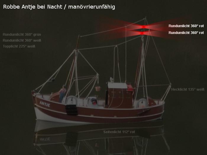 Antje von Robbe - Position der möglichen neuen Beleuchtung - Topplicht und Rundumlichter - manövrierunfähig