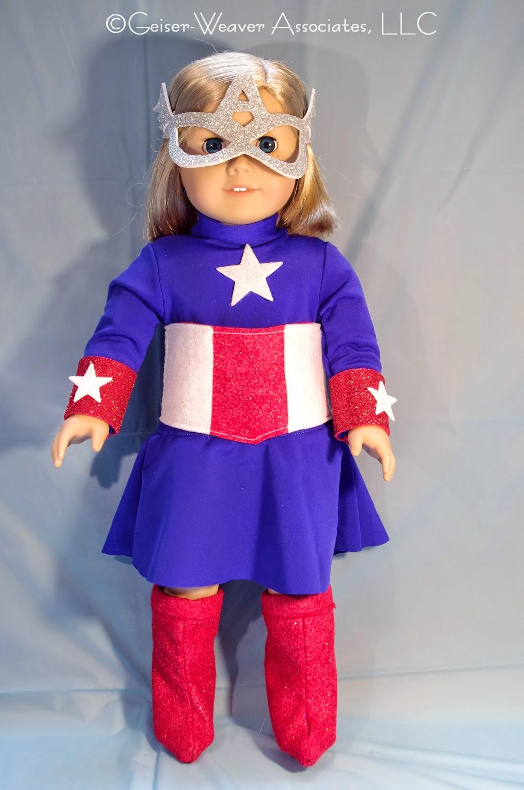 Captain America-type costume for dolls by Geiser-Weaver Associates, LLC