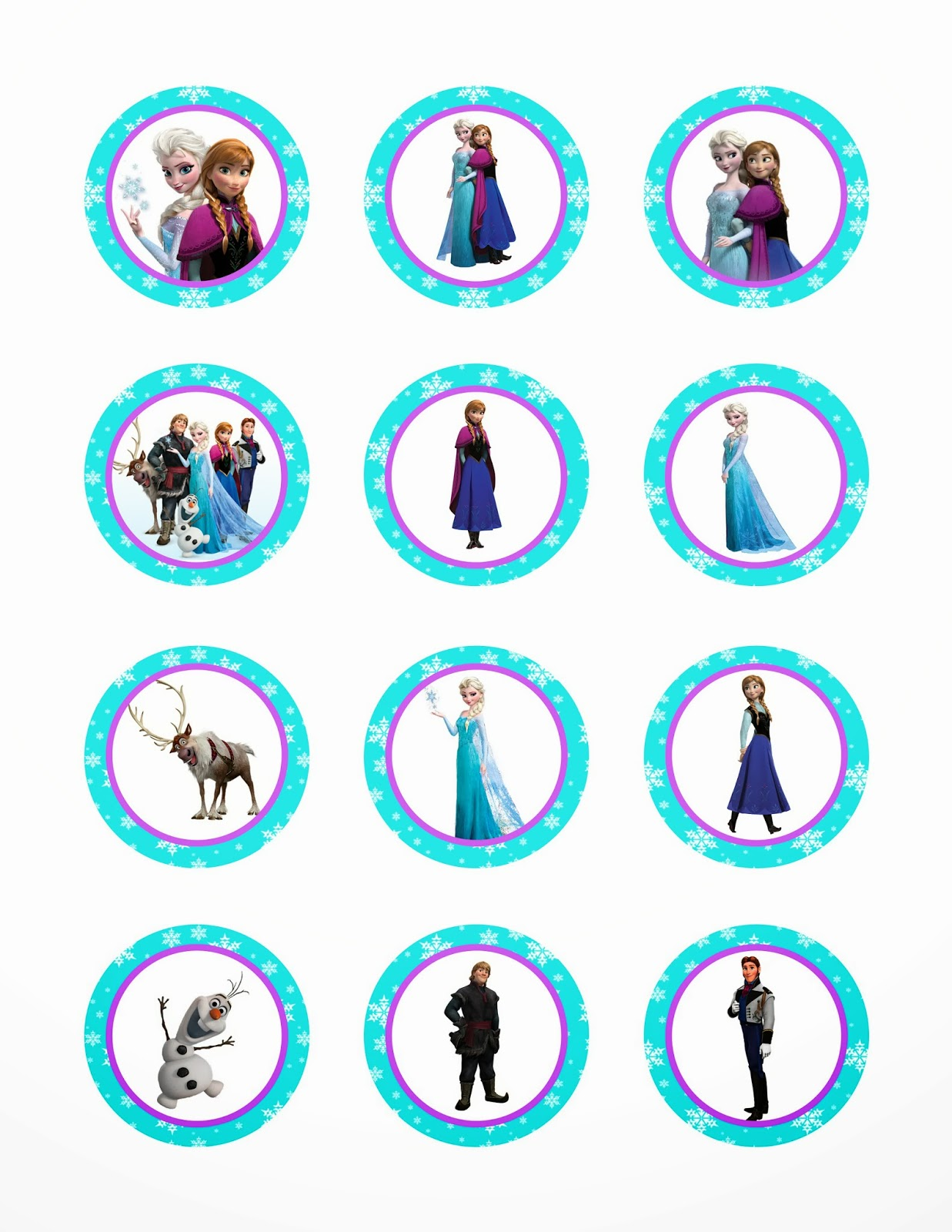 Frozen Cupcake Toppers Printable