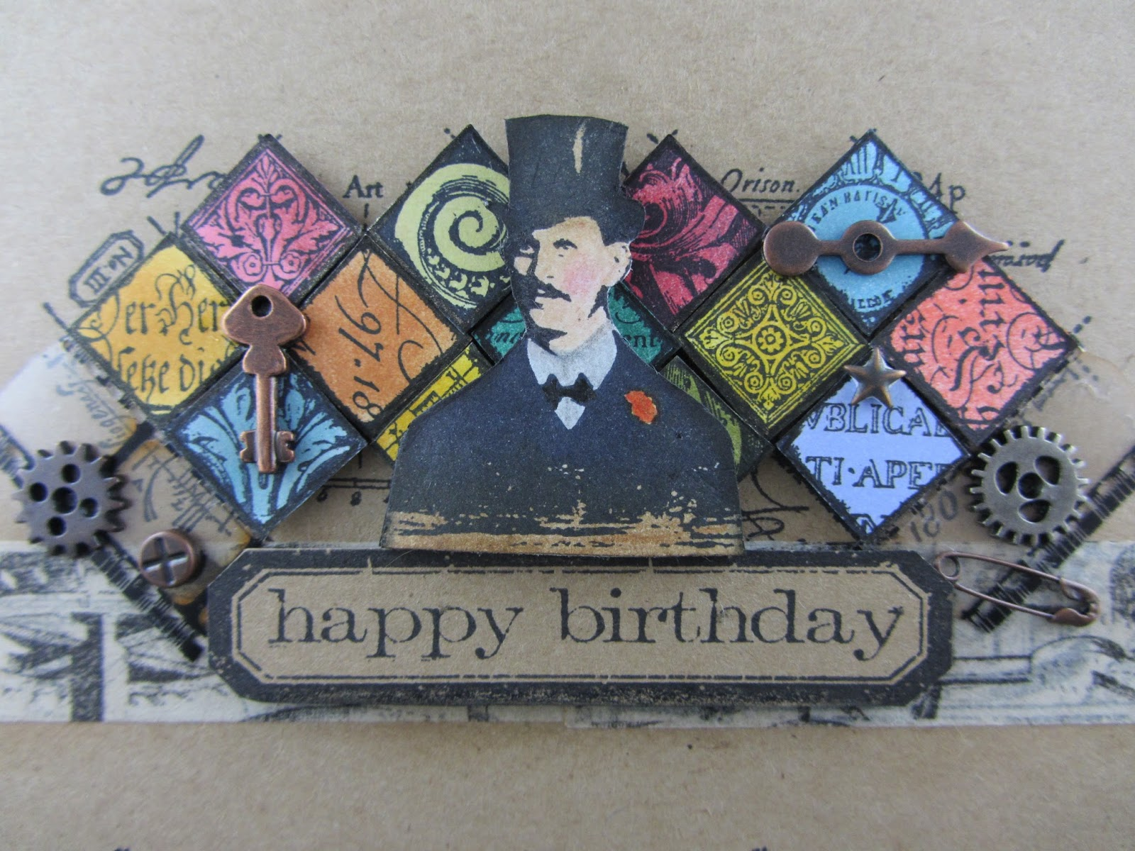 scraps from a broad manly birthday card, Birthday card