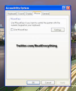 Settings - Use keyboard as mouse