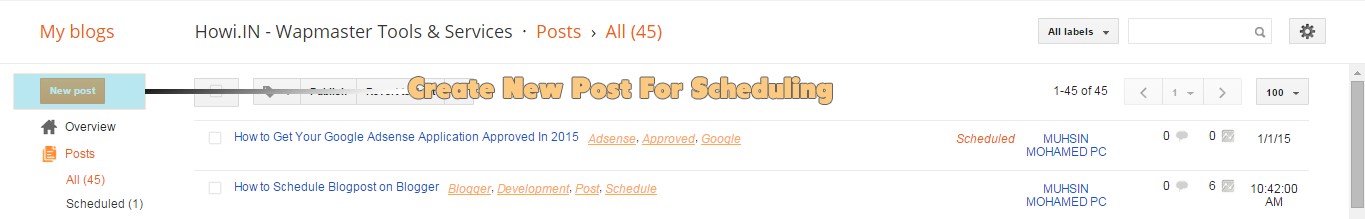 Creating New Post On Blogger For Scheduling