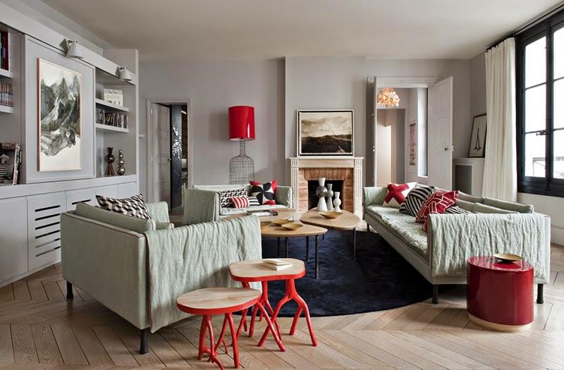 decoration salon gris et rouge'
