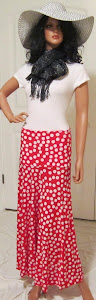 Ladies red and white polka dot stretch knit jerey maxi skirt