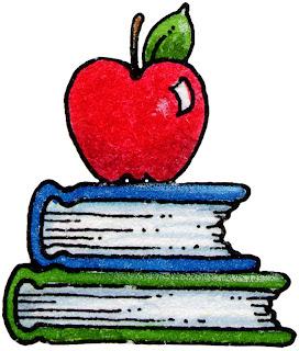 Desenho de Livros e Maçã colorida