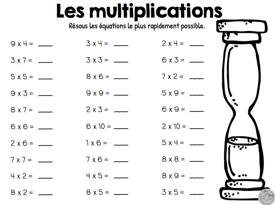Tables de multiplications exercices table de lit for Exercice multiplication cm1