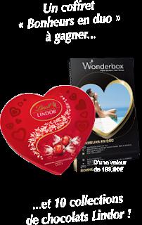 10 collections de chocolats Lindor + coffret Wonderbox Bonheurs en duo