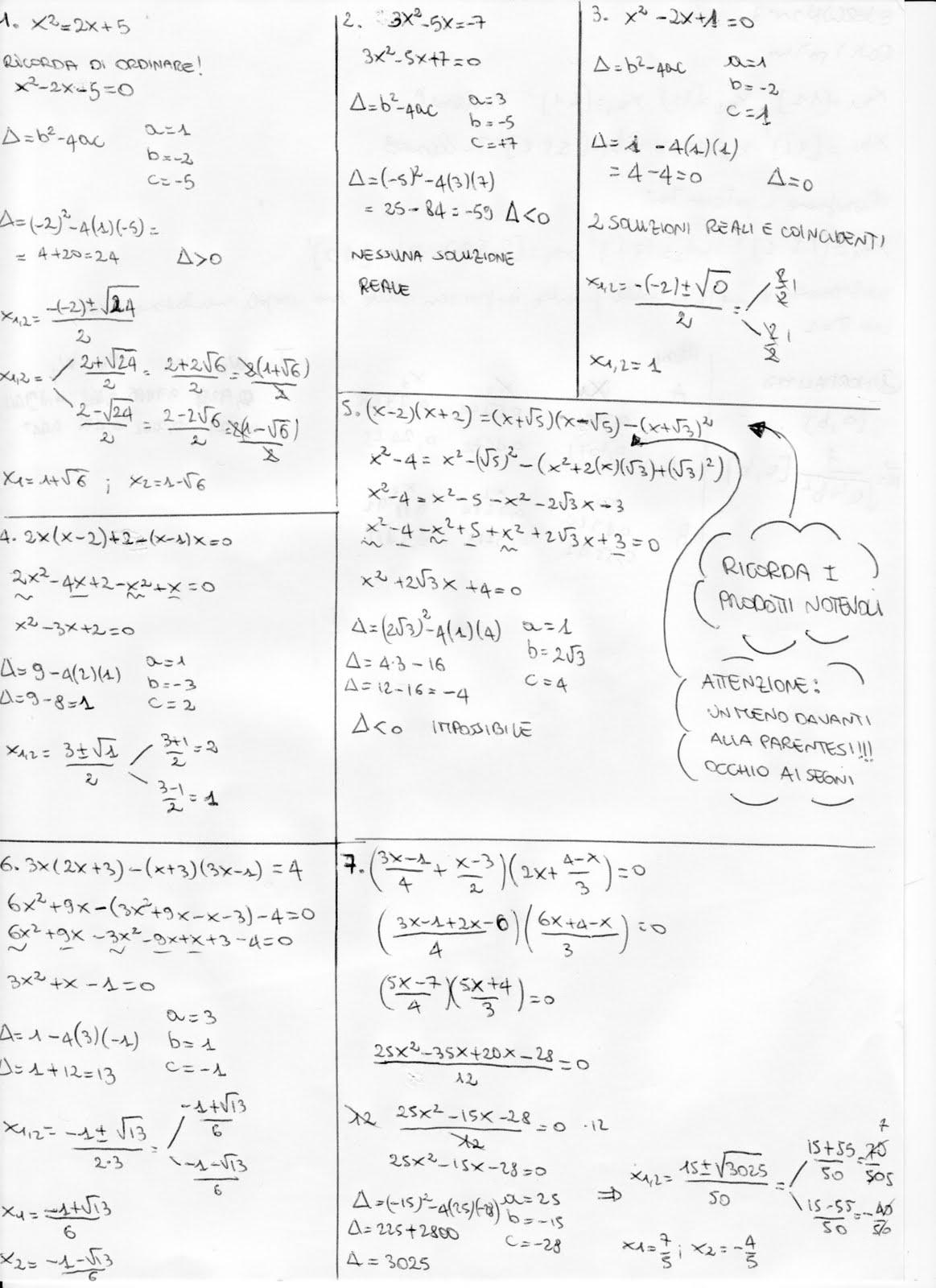 Esercizi svolti di algebra equazioni di secondo grado - Tavola di tracciamento secondo grado ...