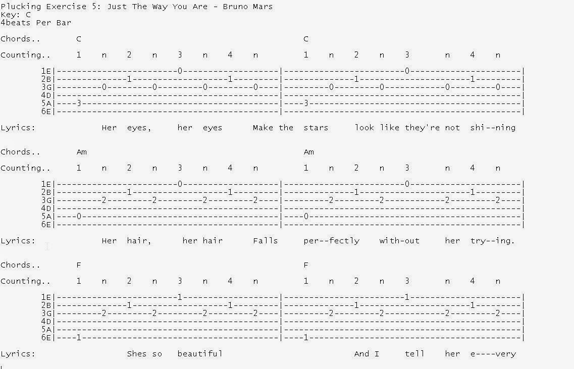 Talkingchord june 2014 we shall play a short modified version of just the way you are by bruno mars hexwebz Gallery