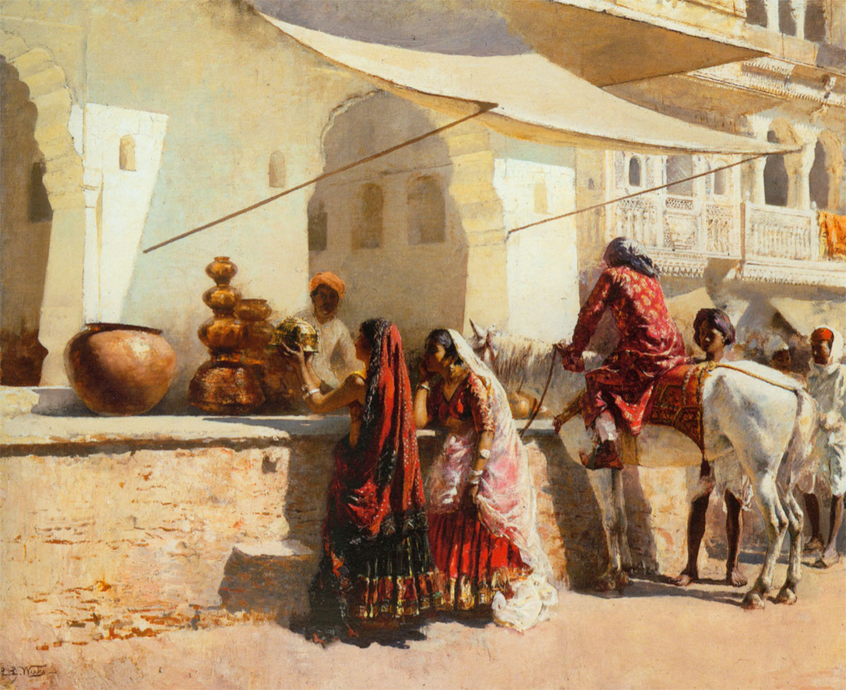 A Market Scene in India 1887 - Oil Painting by American ...