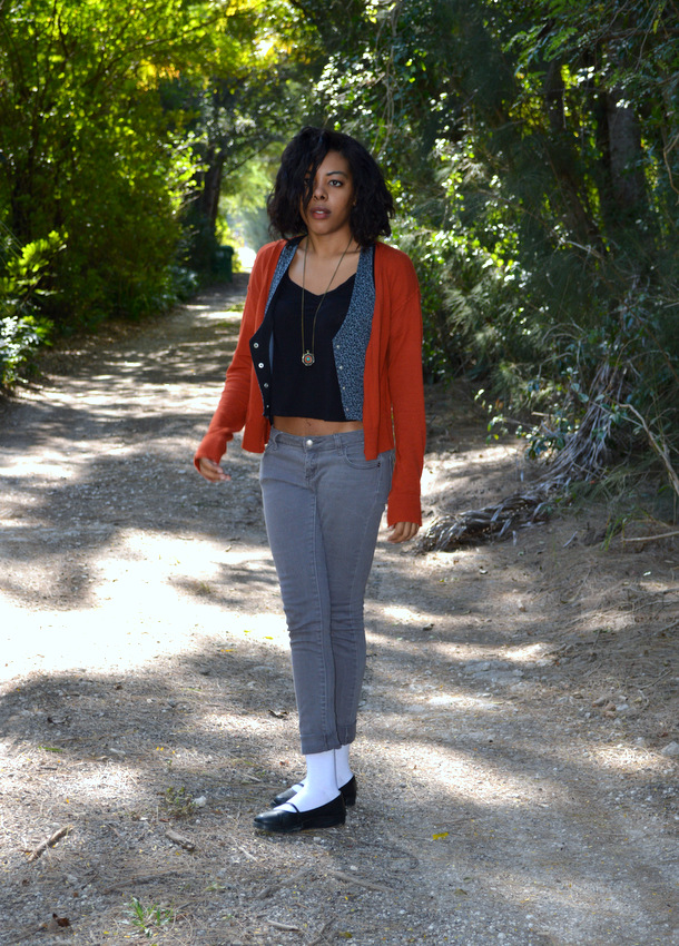Fashion Blogger Anais Alexandre of Down to Stars in a Mossimo Cardigan with a wet seal leopard vest, Forever 21 satin back top and grey jeans with Deena and Ozzy maryjanes