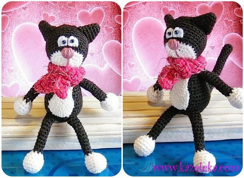 вязаный черный кот