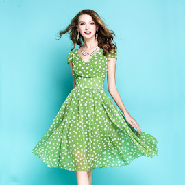 New 2017 Light Olive Green Polkadot Flare Chiffon Dress